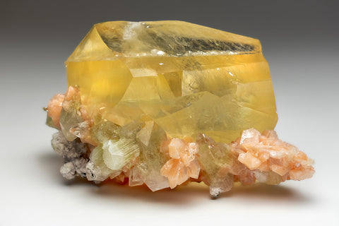 Twinned Golden Calcite with Apophyllite & Stilbite From Nasik District, Maharashtra, India