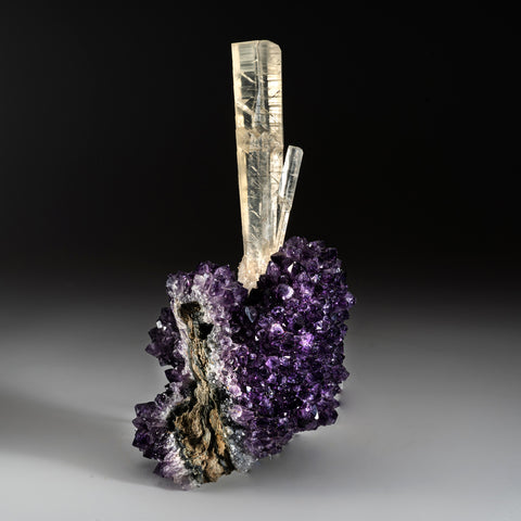 Calcite on Amethyst from Artigas, Uruguay