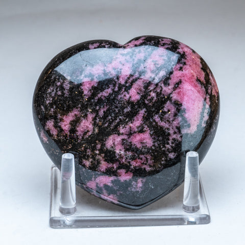 Polished Imperial Rhodonite Heart from Madagascar (1.5 lbs)
