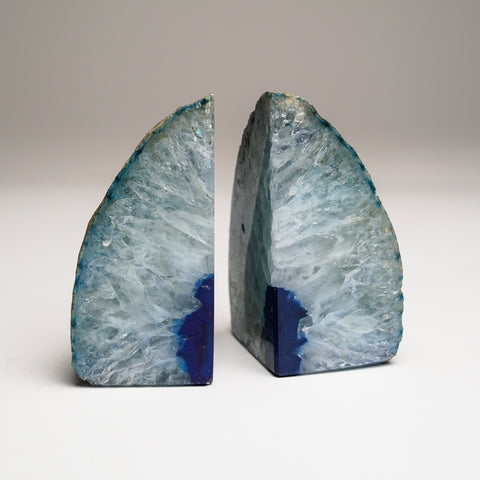 Aqua Banded Agate Bookends from Brazil (1 lb)