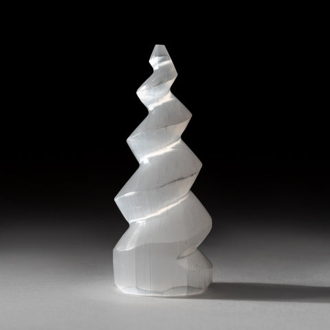 White Selenite Spiral Tower from Morocco (113.2 grams)
