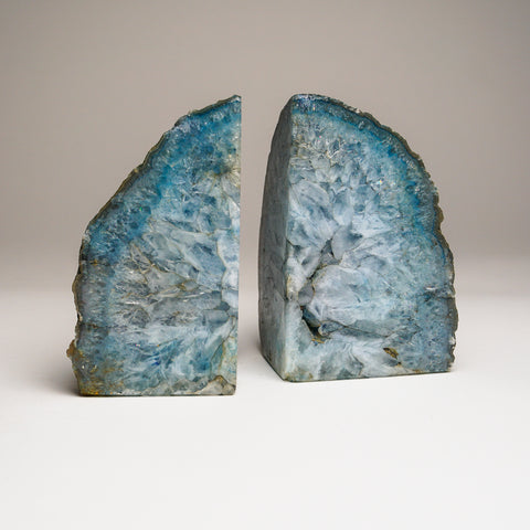 Aqua Banded Agate Bookends from Brazil (4.5 lbs)