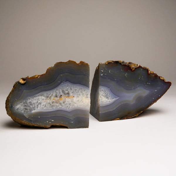 Dark Blue Banded Agate Bookends from Brazil (4.5 lbs)