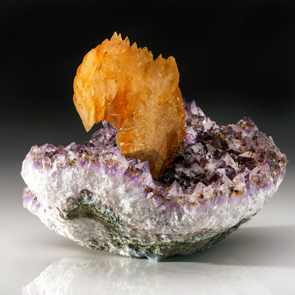 Orange Calcite on Amethyst cluster From San Eugenio, Artigas Dept., Uruguay
