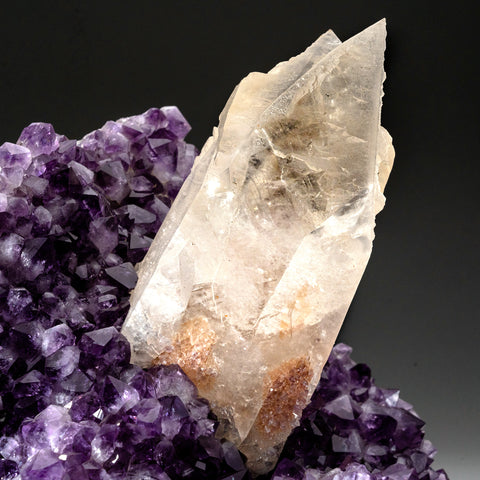 Calcite on Amethyst cluster From San Eugenio, Artigas Dept., Uruguay