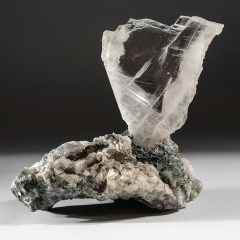 Gypsum Var. Selenite on Quartz from Rio Grande do Sul, Brazil