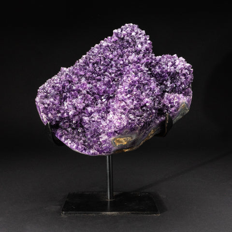 Genuine Amethyst Cluster on Metal Stand (16.8 lbs)