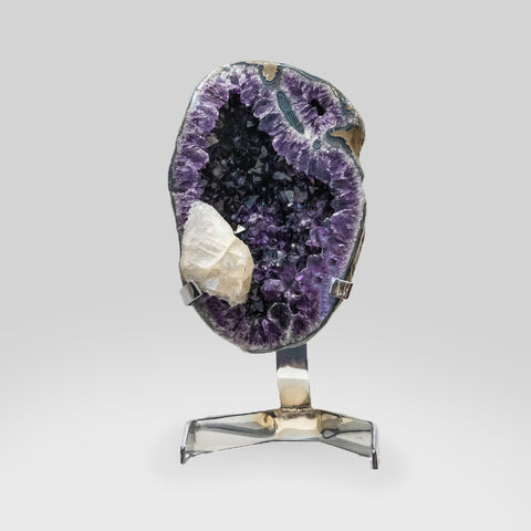 Genuine Amethyst Cluster with Calcite on Metal Stand (54 lbs)