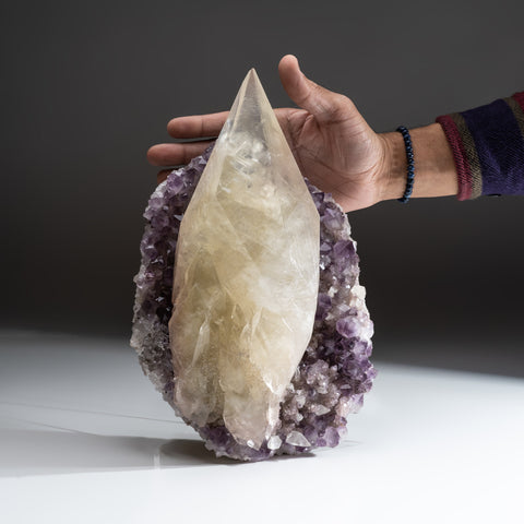 Natural Calcite on Amethyst cluster (11.5 lbs)
