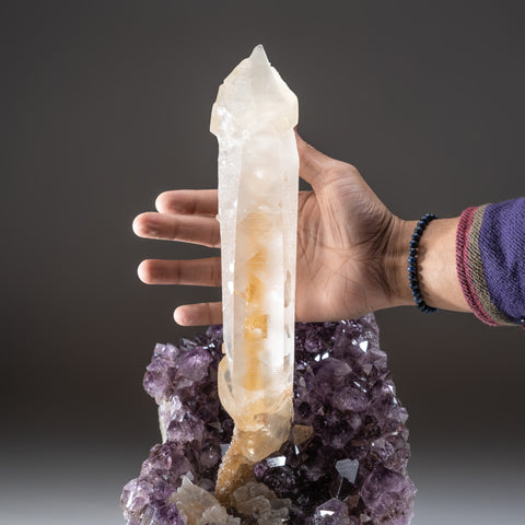 Natural Calcite on Amethyst cluster (15 lbs)