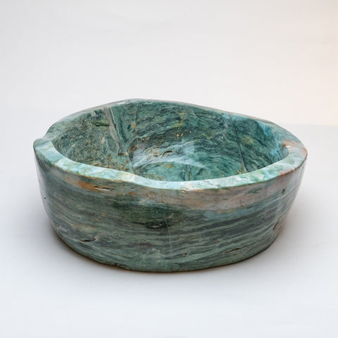 Polished Green Serpentine Large Bowl (33.6 lbs)