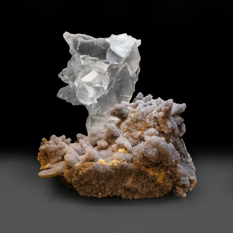 Gypsum Var. Selenite on Druzy Amethyst from Rio Grande do Sul, Brazil