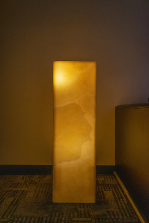 "Orange Calcite Onyx Lamp from Mexico (39.5"", 85 lbs)"