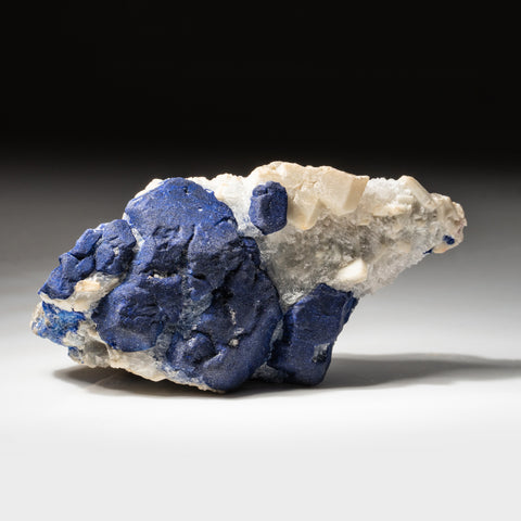 Lazurite with Calcite on Marble from Sar-e-Sang, Kokscha Valley, Badakshan, Afghanistan