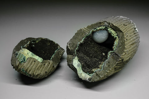 Druzy lined Geode with Calcite and Gyrolite from Mumbai District, Maharashtra, India - Astro Gallery