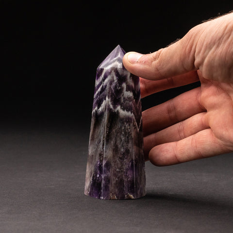 Polished Chevron Amethyst Point from Brazil (230.5 grams)