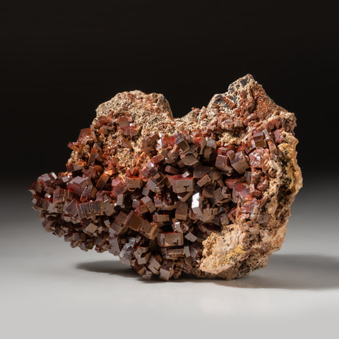 Vanadinite Crystal Cluster on Matrix From Mibladen, Atlas Mountains, Khénifra Province, Morocco