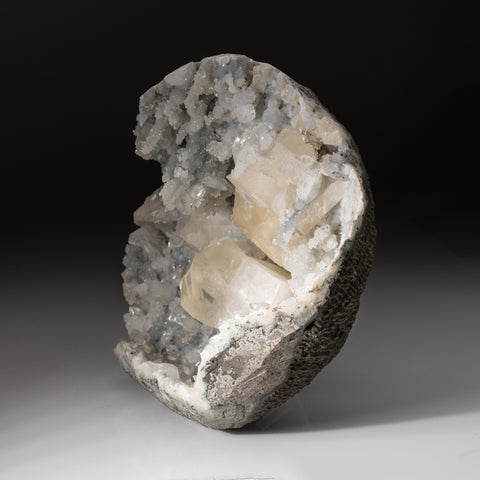 Golden Calcite with Apophyllite Geode From Nasik District, Maharashtra, India