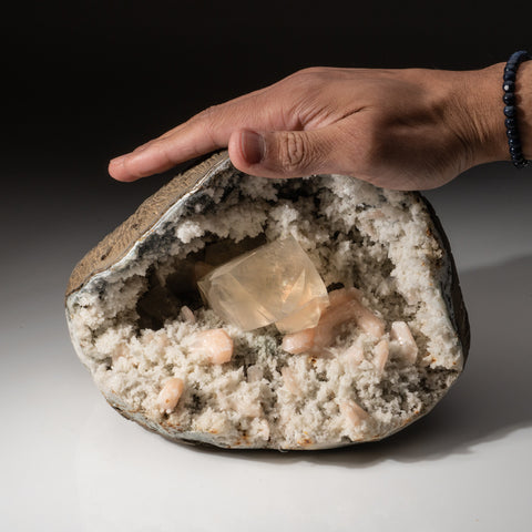 Golden Calcite with Stilbite Geode From Nasik District, Maharashtra, India
