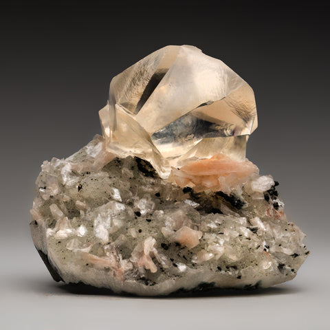 Calcite and Stilbite with Apophyllite on matrix from Jalgaon,  Maharashtra, India