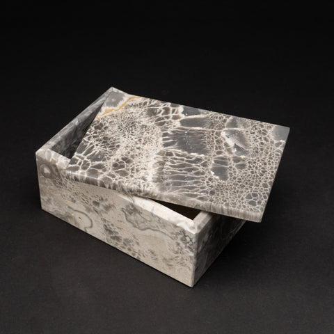 Rectangular Grey Marbleized Onyx Box from Mexico (3.4 lbs)