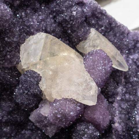 Amethyst Stalactites with Calcite From San Eugenio, Artigas Dept., Uruguay