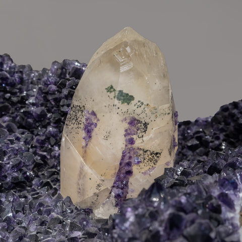 Calcite on Amethyst From San Eugenio, Artigas Dept., Uruguay