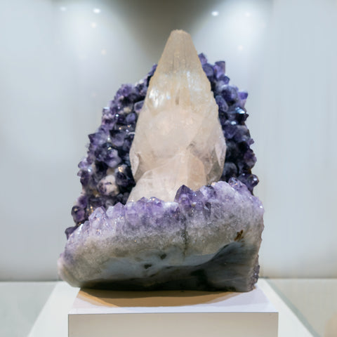 Gem Calcite on Amethyst From San Eugenio, Artigas Dept., Uruguay