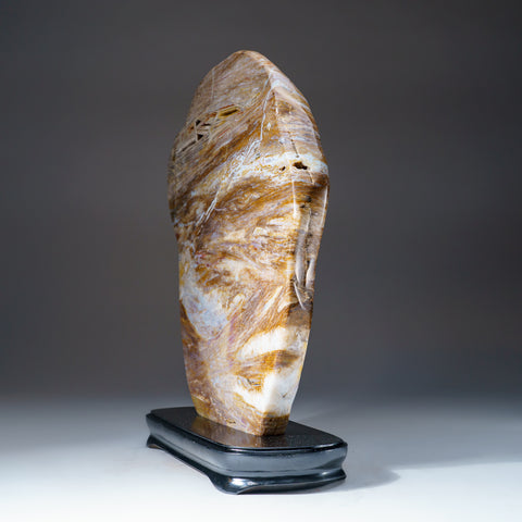 Polished Natural Banded Agate Slice on Wooden Stand (15 lbs)