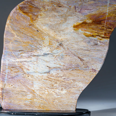 Polished Natural Banded Agate Slice on Wooden Stand (10.5 lbs)