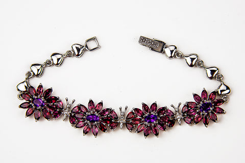 Red Garnet and Amethyst Bracelet
