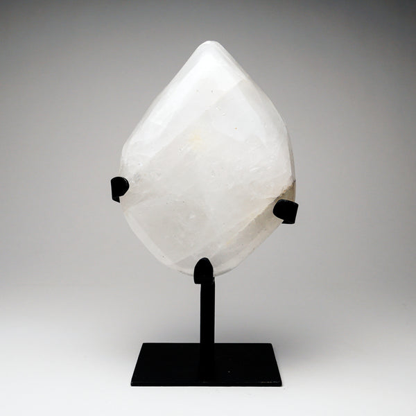 "Large Polished Snow Quartz On Stand From Brazil (6"", 7 lbs)"