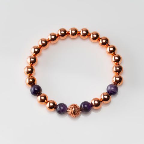 Copper with Amethyst 8mm Beaded Stretch Bracelet