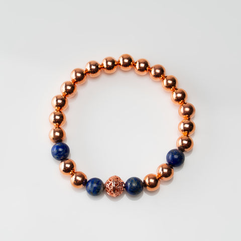 Copper with Lapis 8mm Beaded Stretch Bracelet
