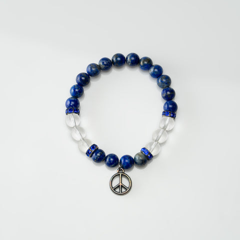 Lapis Lazuli with Clear Quartz 8mm Beaded Stretch Bracelet
