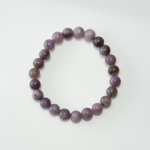 Lepidolite 8mm Round Beaded Stretch Bracelet