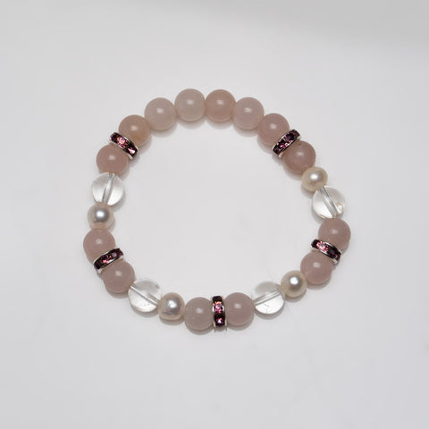 Rose Quartz with Clear Quartz 8mm Beaded Stretch Bracelet