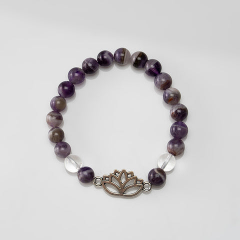 Chevron Amethyst 8mm Beaded Stretch Bracelet