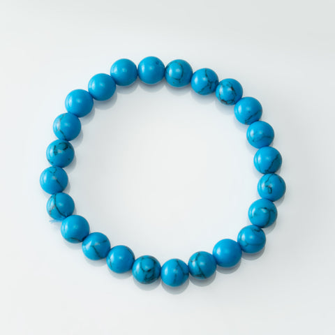 Turquoise 8mm Beaded Stretch Bracelet