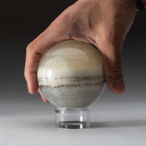 White and Grey Onyx Sphere from Mexico (1.5 lbs)