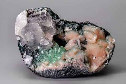 Green Apophyllite with Stilbite and Calcite on Matrix from Maharashtra, India