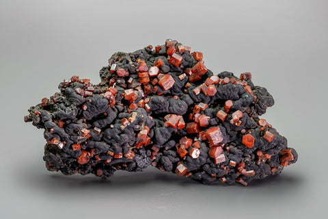 Vanadinite on Hollandite From Taouz, Er Rachidia Province, Meknès-Tafilalet Region, Morocco