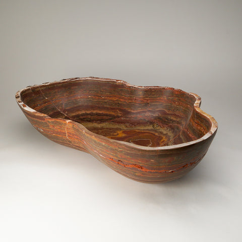 Large Safrron Brown Onyx Bowl From Mexico (15.5 lbs)