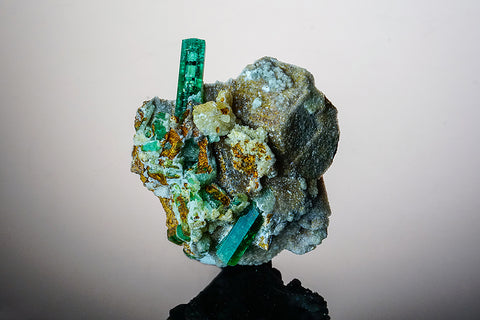 Emerald on Calcite From Muzo Mine, Vasquez-Yacopí District, Boyacá Department, Colombia