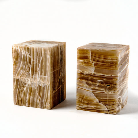 "Small Square Onyx Lamp Set from Mexico (6"", 5 lbs)"