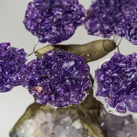Small - Genuine Amethyst Clustered Gemstone Tree on Clear Quartz Matrix (The Relaxation Tree)