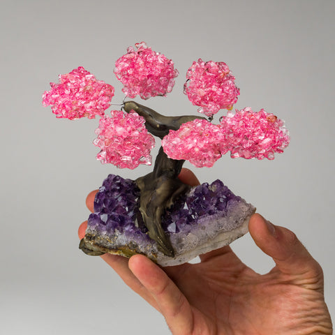 Small - Genuine Rose Quartz Clustered Gemstone Tree on Amethyst Matrix (The Love Tree)