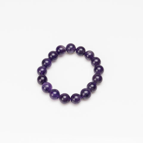 Amethyst 12mm Beaded Stretch Bracelet