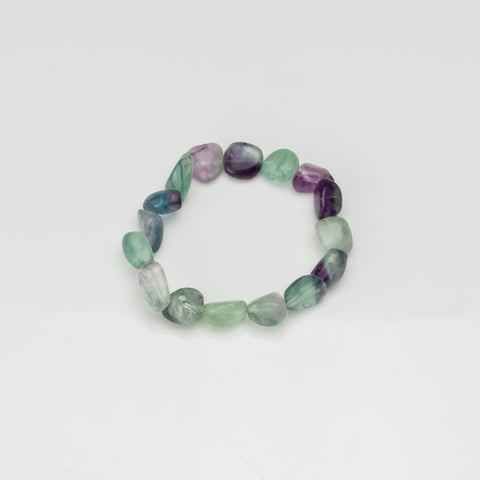 Rainbow Fluorite 8mm Nugget Beaded Stretch Bracelet