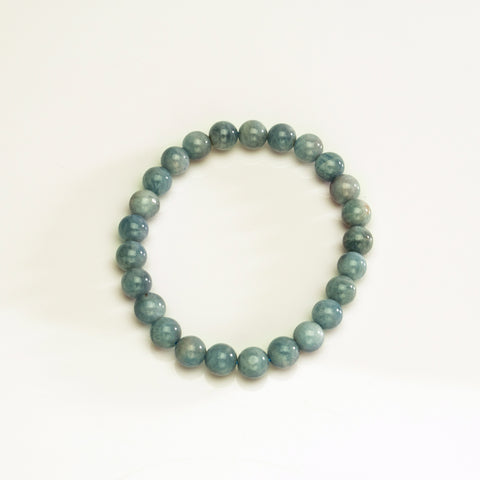 Aquamarine 7mm Beaded Stretch Bracelet